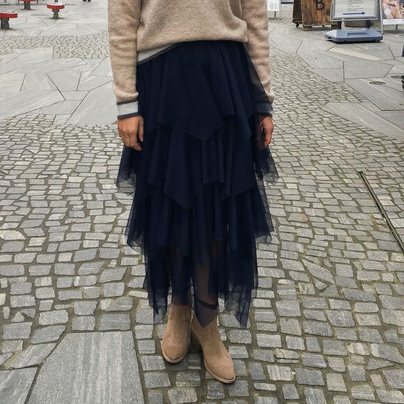 Xenia Stripet Nederdel Sort - Missmartins.dk