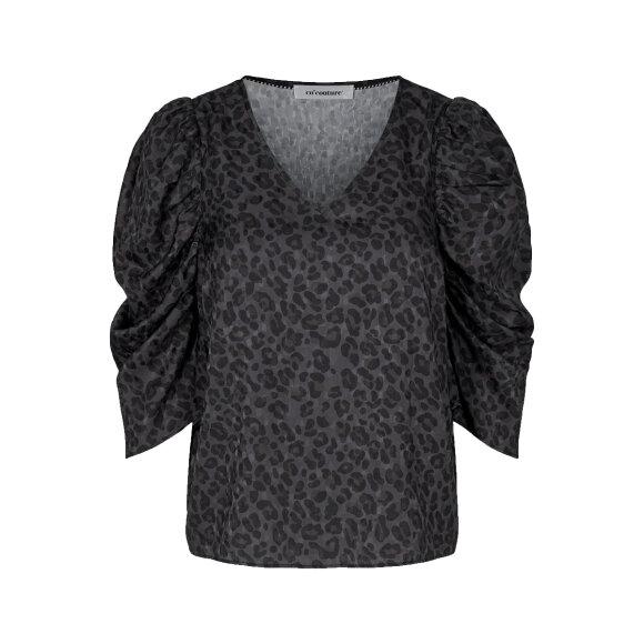 Co'couture - Co'couture Coal Leo Puff Bluse